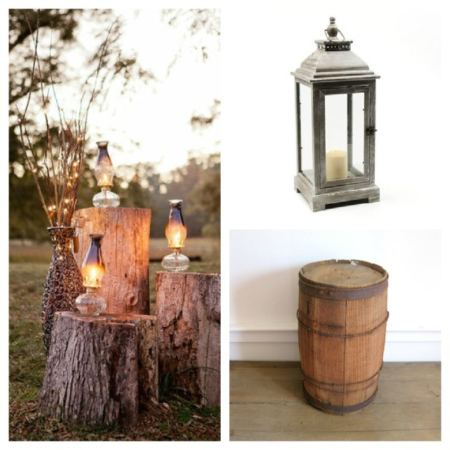 Nail Barrel with Lantern -Rustic Wedding Decor