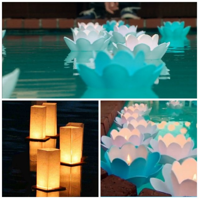 pool lights collage